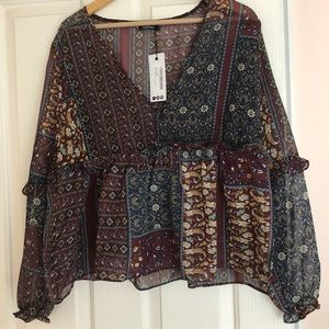 Woven Paisley Smock Top from BOOHOO!